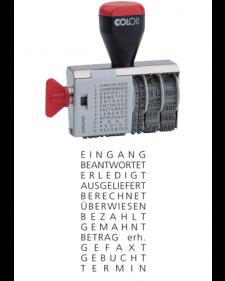 Stempel: COLOP Bandstempel, 12 verschiedene Begriffe + Datum, 4mm Schrifthöhe, Mod.04000/WD, Best.‑Nr.4450