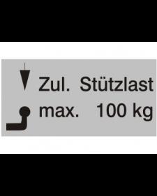 Typenschilder: Zulässige Stützlast max. 100kg, silber/schwarz, Folie, 65x30mm, Best.‑Nr.4503