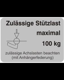 Typenschilder: Zulässige Stützlast max. 100kg, silber/schwarz, Haftfolie, 74x52mm, Best.‑Nr.4509