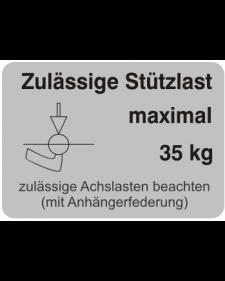 Typenschilder: Zulässige Stützlast max. 35kg, silber/schwarz, Haftfolie, 74x52mm, Best.‑Nr.4506