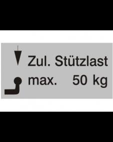 Typenschilder: Zulässige Stützlast max. 50kg, silber/schwarz, Haftfolie, 65x30mm, Best.‑Nr.4501