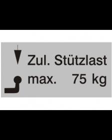 Typenschilder: Zulässige Stützlast max. 75kg, silber/schwarz, Haftfolie, 65x30mm, Best.‑Nr.4502