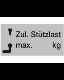 Typenschilder: Zulässige Stützlast neutral, silber/schwarz, Haftfolie, 65x30mm, Best.‑Nr.4500