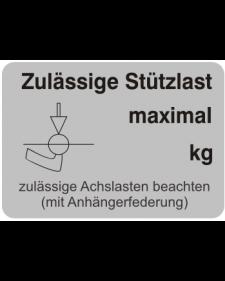 Typenschilder: Zulässige Stützlast neutral, silber/schwarz, Haftfolie, 74x52mm, Best.‑Nr.4505