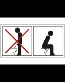 WC-Schild: Urinieren im Stehen verboten, weiß/schwarz+rot, Folie, 105 x 55 mm, Best. Nr. 3058