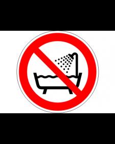 """Verbotsschild """"Nicht in der Dusche oder über mit Wasser gefüllten Becken benutzen"""", Best.‑Nr.3447"""