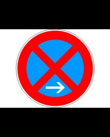 Verkehrsschild: Absolutes Haltverbot Ende, Rechtsaufstellung, Bild‑Nr.283‑10, blau/rot, Best.‑Nr.4080er