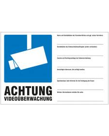 Schilder rund um´s Haus: Videoüberwachung, DSGVO-konform, 200 x 300 mm, Best.-Nr. 3034