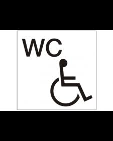 WC-Schild: WC Behinderte, weiß/schwarz, Kunststoff, selbstklebend, 150 x 150 mm, Best.-Nr. 3047
