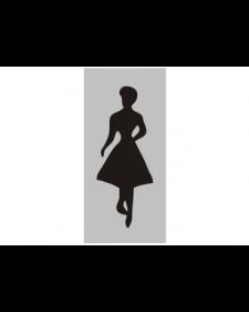 WC-Schild: WC Frauen, silber/schwarz, Aluminium, selbstklebend, 70 x 150 mm, Best.‑Nr.3054