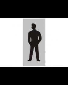 WC-Schild: WC Männer, silber/schwarz, Aluminium, selbstklebend, 70 x 150 mm, Best.‑Nr.3053