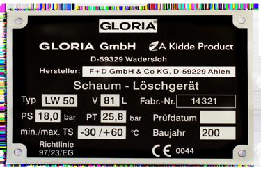 Eloxiertes Aluminium, Typenschild Gloria Feuerlöscher mit Seriennummer per Laserbeschriftung