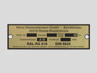 Typenschild, Messing geätzt, Behälterbau Oesterwiemann