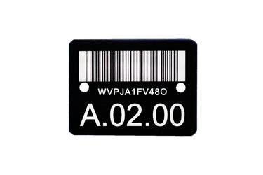 Typenschild mit Barcode aus eloxiertem Aluminium, laserbeschriftet