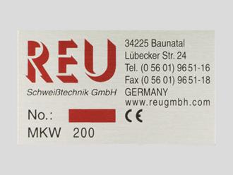 Typenschild eloxiert, schwarz/rot, Schweißtechnik