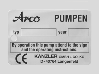 Typenschild aus geätztem Edelstahl für Arco-Pumpen